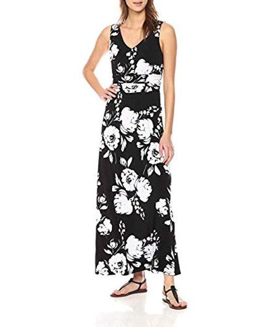 a6a8c7c467 Lyst - Calvin Klein Sleeveless V Neck Maxi Dress in Black - Save 21%
