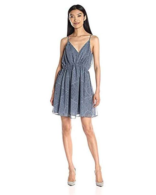 BCBGeneration Blue Printed Drawstring Dress