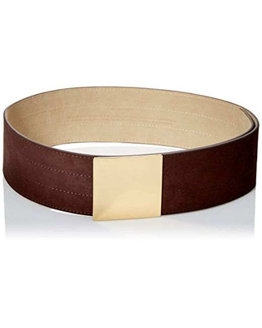 Steve Madden - Brown Wide Suede Belt With Rectangle Plaque - Lyst