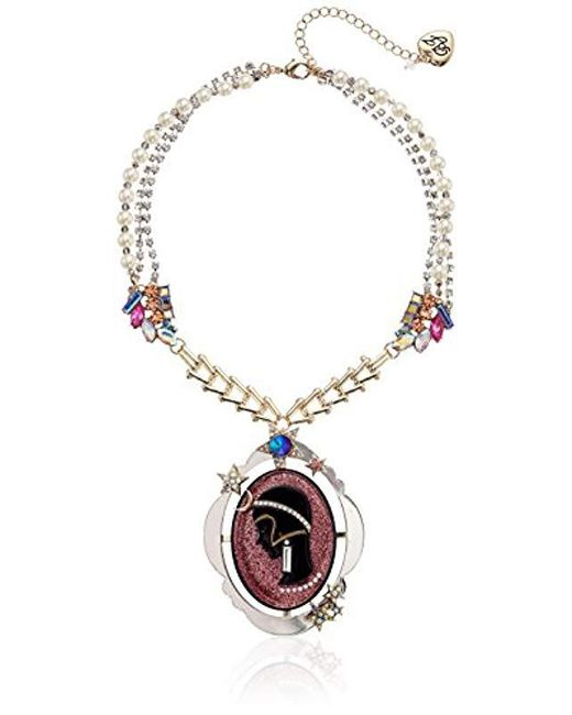 Betsey Johnson - Pink Cameo Pearl Pendant Necklace - Lyst
