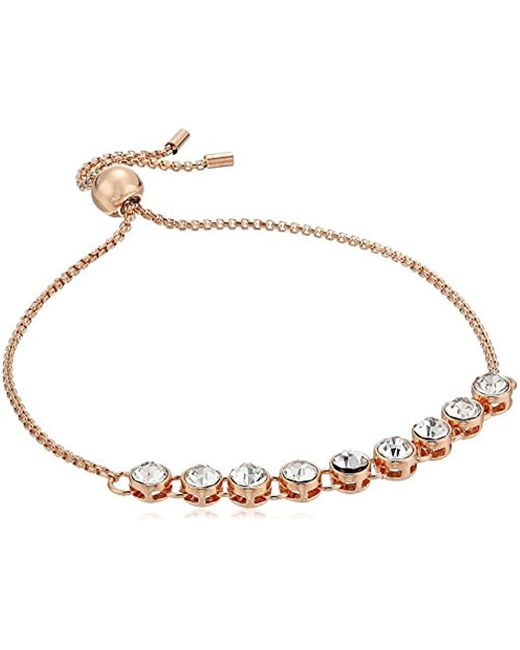 Kenneth Cole - Metallic Supercharged Collection Rose Gold And Crystal Slider Bracelet - Lyst