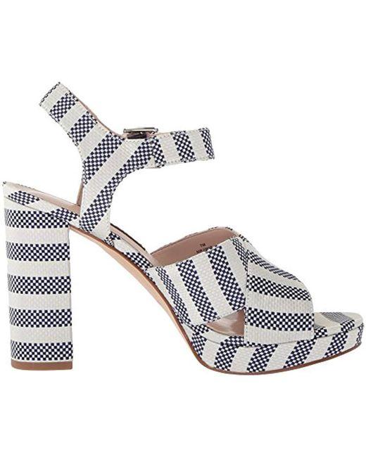 10b409edade Lyst - Nine West Jimar Fabric Heeled Sandal in Blue - Save 55%