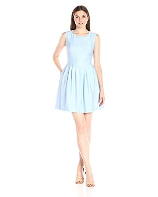 Anne Klein - Blue Slub Shantung Vertical-seamed Fit-and-flare Dress - Lyst