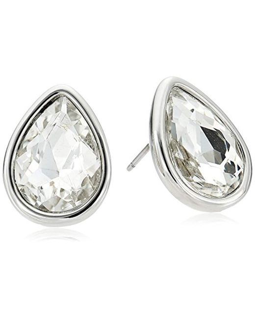 Kenneth Cole - Metallic Crystal And Tear Drop Stud Earrings - Lyst