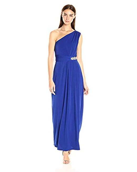 Ellen Tracy - Blue One Shoulder Jersey Gown - Lyst