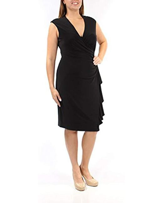 Anne Klein - Black Vneck Side Ruffled Dress - Lyst