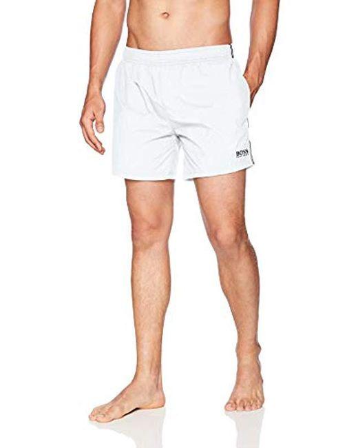 BOSS - White Perch Swim Trunk for Men - Lyst