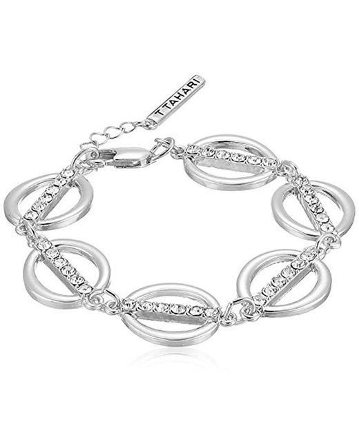 T Tahari - Metallic S Essentials Linked Ovals Bracelet, Silver, One Size - Lyst