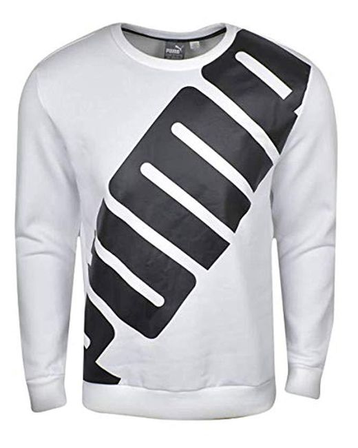 PUMA - White Big Logo Crewneck Sweatshirt for Men - Lyst