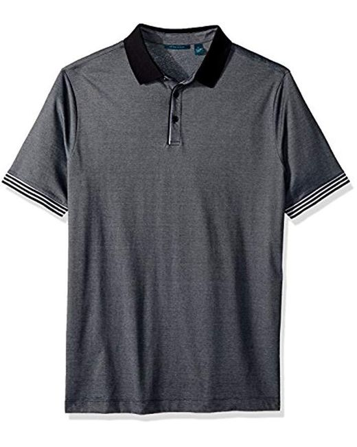 Perry Ellis Black Big And Tall End Striped Polo for men