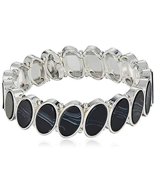 Nine West Metallic Silver-tone And Jet Stretch Bracelet, Size 0