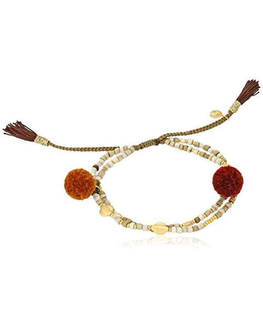 Tai - Pom Pom Double White Strand Bracelet - Lyst