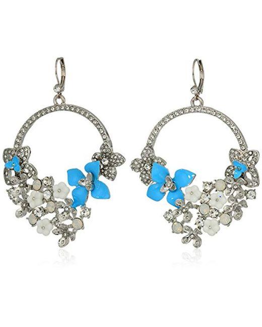 Betsey Johnson - Blue La La Multi Flower Drama Gypsy Drop Earrings - Lyst