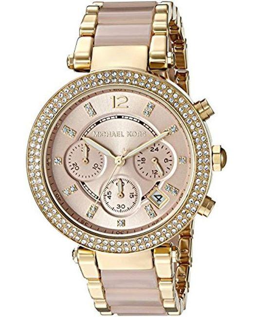 2486d62f7828 Michael Kors - Metallic S Parker Blush Acetate And Goldtone Chronograph  Watch - Lyst ...
