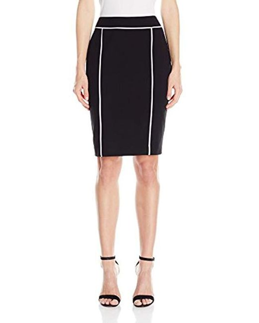 af7709c08d Calvin Klein Pencil Skirt With Piping in Black - Save 39% - Lyst