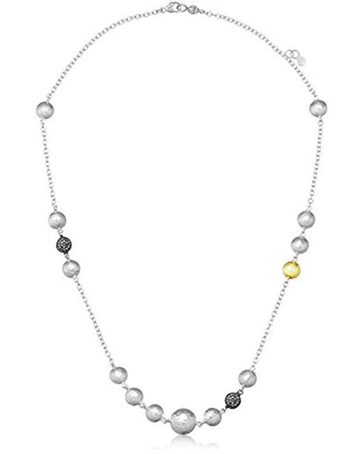 """Gurhan - Metallic """"lentil Ice Sterling Silver And Diamond Pave Station Necklace - Lyst"""