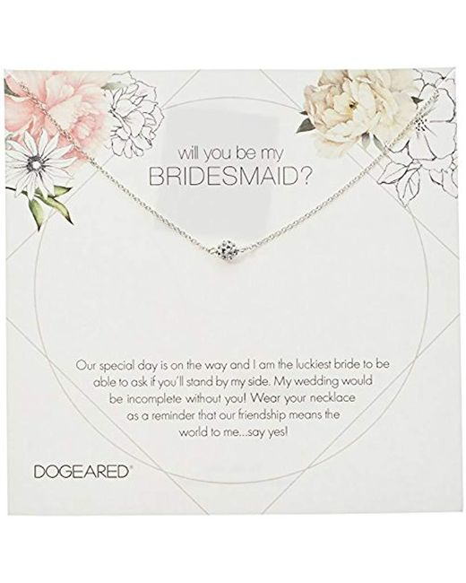 """Dogeared - Metallic Will You Be My Bridesmaid Flower Card Pave Sparkle Ball Chain Necklace, 16"""" + 2"""" Extension - Lyst"""