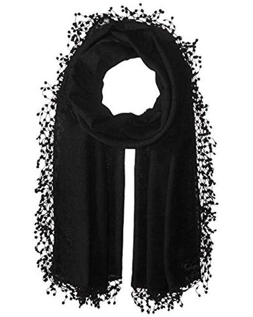 La Fiorentina - Black Wool-silk Blend Scarf With Lace Pom Fringe - Lyst