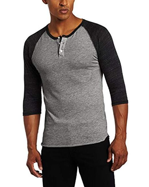 Alternative Apparel - Gray Raglan 3/4 Sleeve Henley Shirt for Men - Lyst