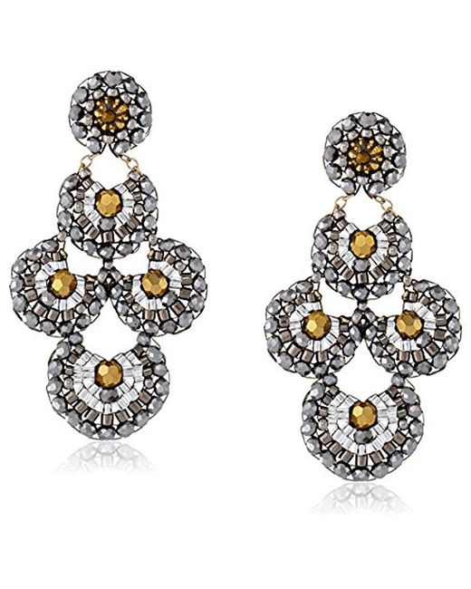 Miguel Ases - Metallic Pyrite And Swarovski Bead Scalloped Drop Earrings - Lyst