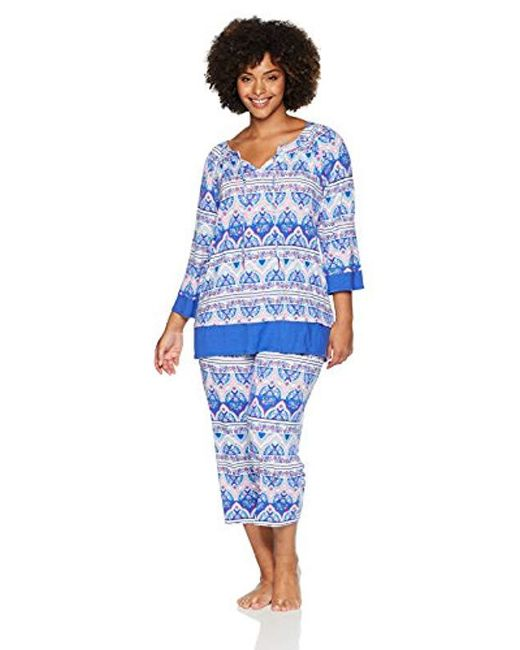 Ellen Tracy - Blue Plus Size Batik Paisley Tunic Pajama Set - Lyst