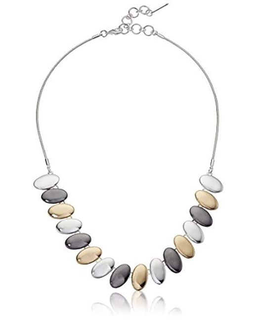 "Nine West - Multicolor Tri-tone 16"" Frontal Necklace, Size 0 - Lyst"