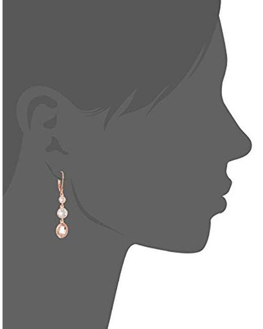 Anne Klein - Metallic Rose Gold Tone Triple Leverback Drop Earrings - Lyst