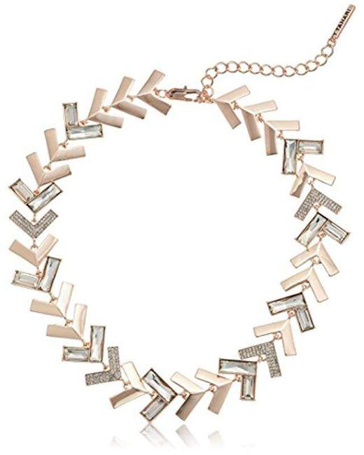 T Tahari - Metallic Chevron Chic Jet Cry Collar Necklace - Lyst