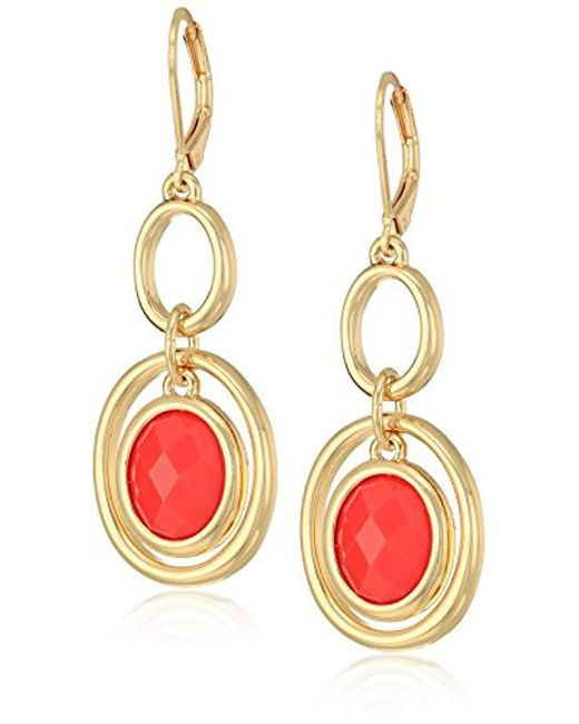 Anne Klein - Metallic Gold Tone And Coral Stone Orbital Double Drop Leverback Drop Earrings - Lyst