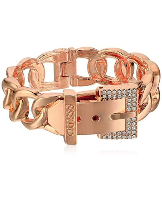 Guess - Metallic Frozen Chain Link Buckle Hinge Bangle Bracelet - Lyst