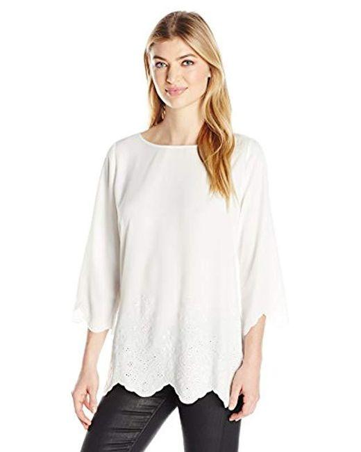 NYDJ - White Printed Cardigan Sweater - Lyst