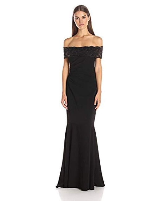 Badgley Mischka - Black Beaded Lace Off The Shoulder Gown - Lyst