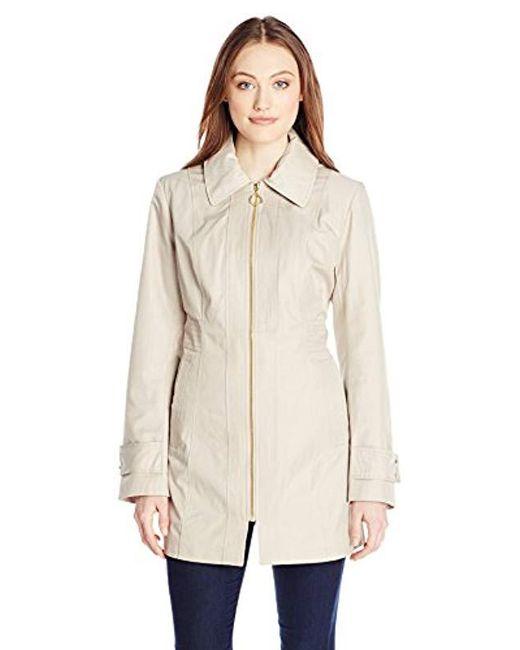 Anne Klein - Natural Zip-front Hooded Raincoat - Lyst