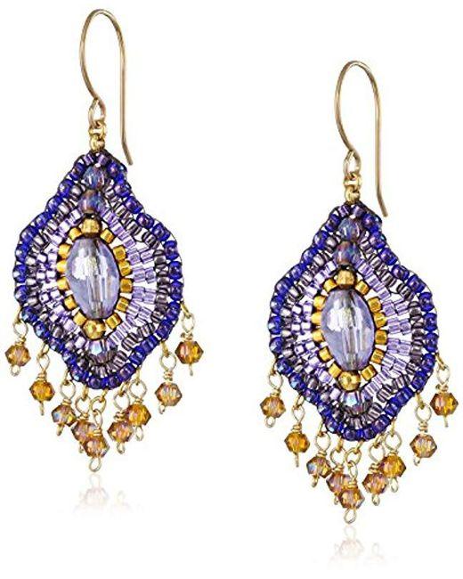 Miguel Ases - Purple Violet Lotus Multi-drop Earrings - Lyst