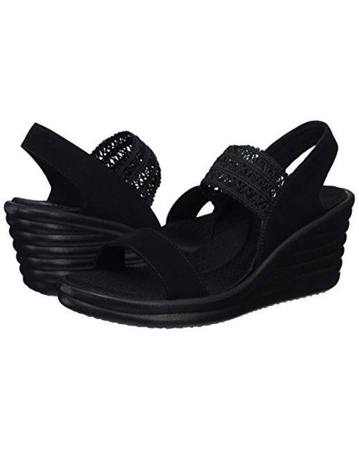 001bad3650 ... Skechers - Black Rumbler Wave-drama Diva Wedge Sandal - Lyst ...