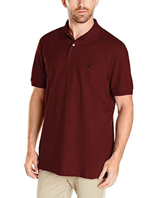 Nautica - Red Short Sleeve Solid Cotton Pique Polo Shirt for Men - Lyst