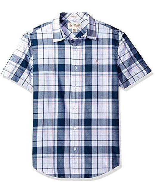 Original Penguin - Blue Short Sleeve Cuffed Shirt, Plaid With Jaspe Stripe for Men - Lyst