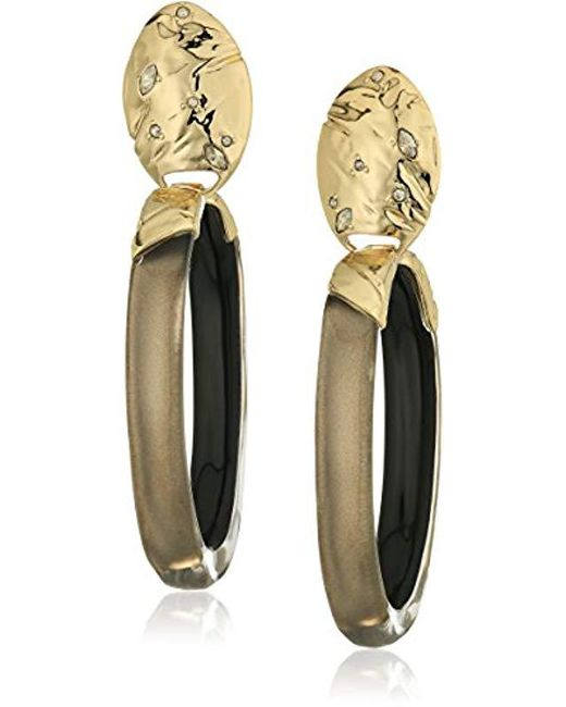 Alexis Bittar - Gray Fall 2017 Rocky Metal Oval Lucite Drop Clip-on Earrings - Lyst