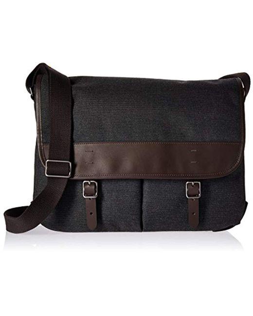 Fossil - Gray Buckner Leather Messenger Bag for Men - Lyst
