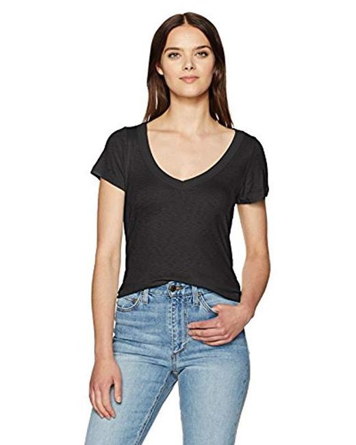 Michael Stars - Black 1x1 Slub Short Sleeve Vee Neck - Lyst