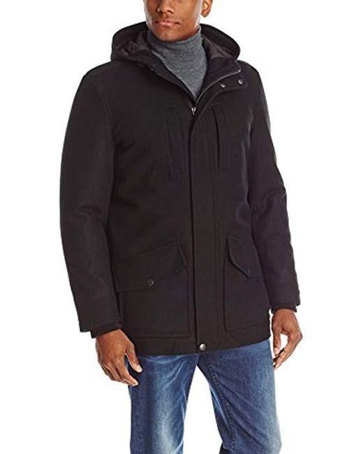 Tommy Hilfiger - Black Melton Wool-blend Full-length Hooded Jacket for Men - Lyst