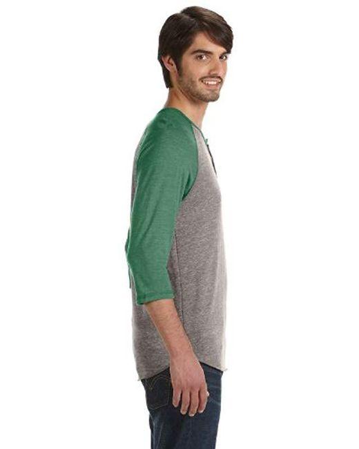 Alternative Apparel - Green Raglan 3/4 Sleeve Henley Shirt for Men - Lyst