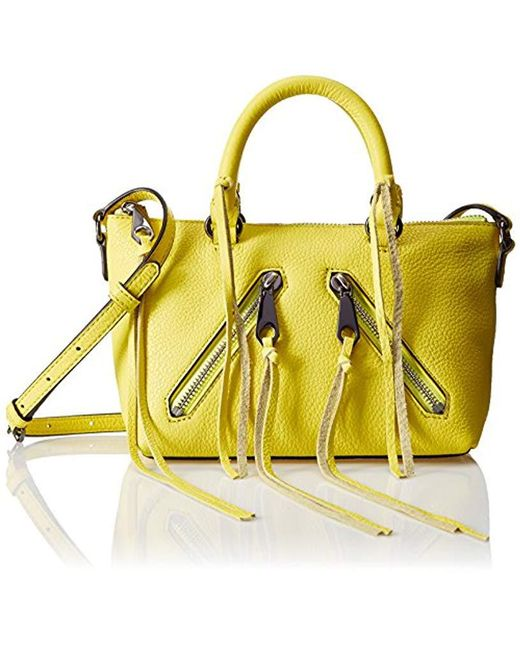 Lyst - Rebecca Minkoff Micro Moto Satchel Cross-body in Yellow ... 505519ee4e21c