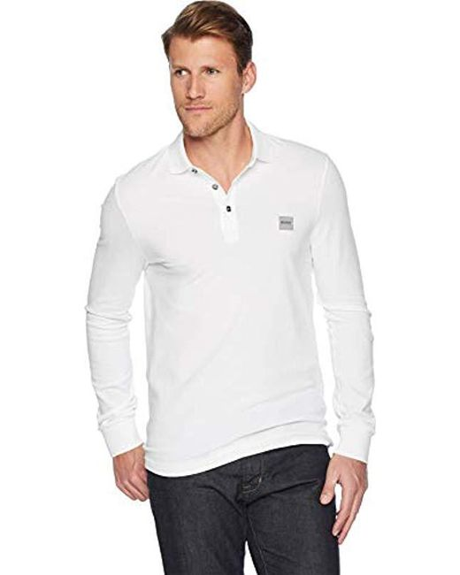cccac9cdfc3 BOSS - White Passerby Long Sleeve Polo With Chest Logo Patch for Men - Lyst  ...