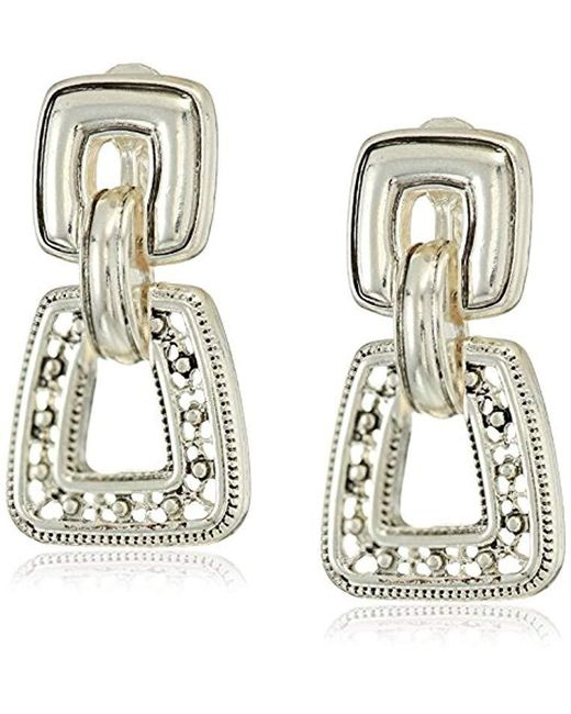 Napier - Metallic Silver With Antique Drop Clip On Earrings - Lyst