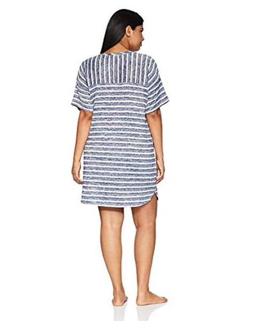ab7c5cc36b7 Lyst - Kensie Plus Size Striped Sweater Knit Sleepshirt in Blue