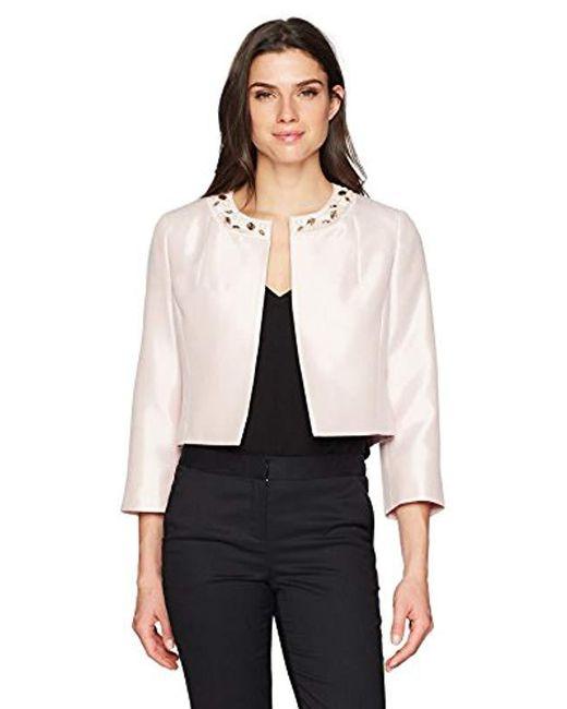 Kasper - White Solid Kissing Jacket With Jewel Embellishment Collar - Lyst