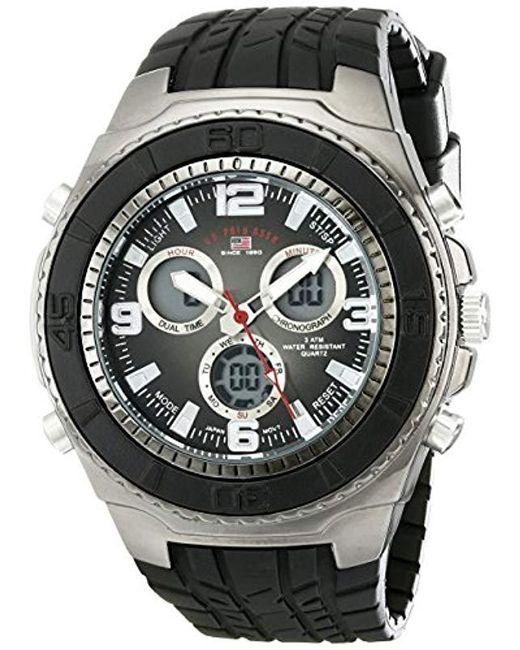 U.S. POLO ASSN. - Sport Us9024 Black Textured Strap Analog Digital Watch for Men - Lyst