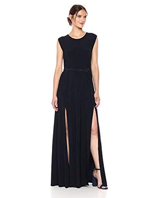 Norma Kamali - Blue Sleeveless Elephant Dress With Skinny Belt - Lyst ... 538c992f2