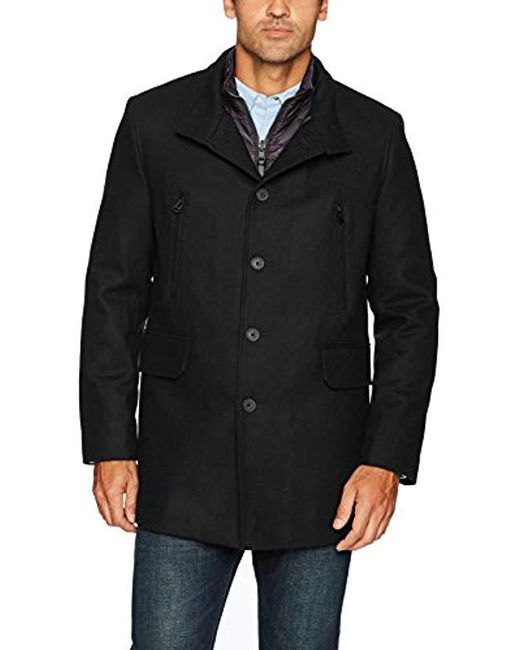 Cole Haan - Black Pressed Melton 3-in-1 Topper Jacket With Removable Bib for Men - Lyst